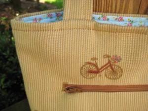 bicycle tote - zipper detail