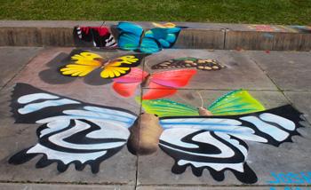 chalk butterflies - chalk festival at the cleveland museum of art