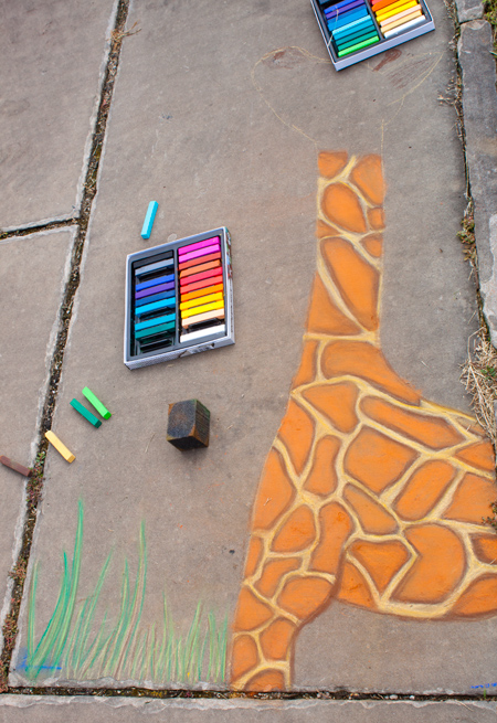 our chalk giraffe in its initial stages at the cleveland chalk festival 2011