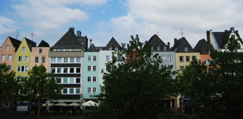 row of colored buildings, cologne, germany