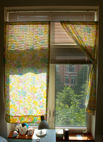 Light Shining Through Last Years Dorm Room Curtains Made From A Vintage Sheet