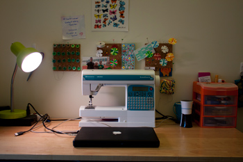 sewing machine takes center stage on my desk