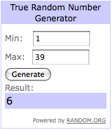 giveaway winner - number 6!