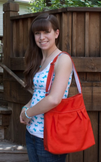 me and my new handmade orange purse (day 10 of the 30 day photo challenge: something i made)
