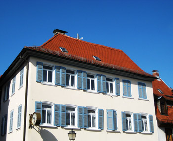 orange roof house, germany