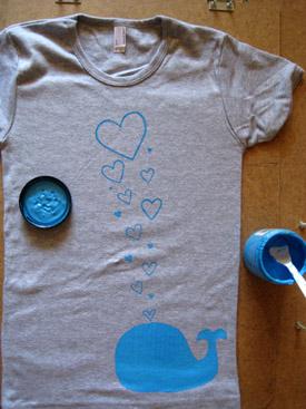 screenprinted whale t-shirt