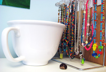 my favorite mixing bowl, necklaces, and a buckeye