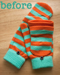 turquoise & orange striped gloves: before