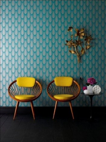 yellow chairs & turquoise walls