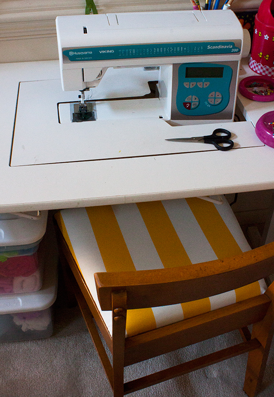 Yellow Striped Sewing Chair Recovered